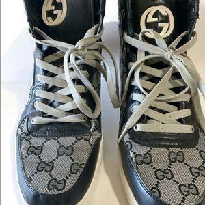 Men's GUCCI HighTop Navy Canvas Sneakers- 236591